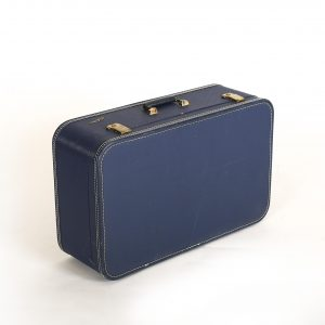large blue vintage suitcase