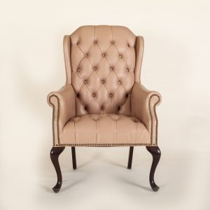blush tufted antique chair