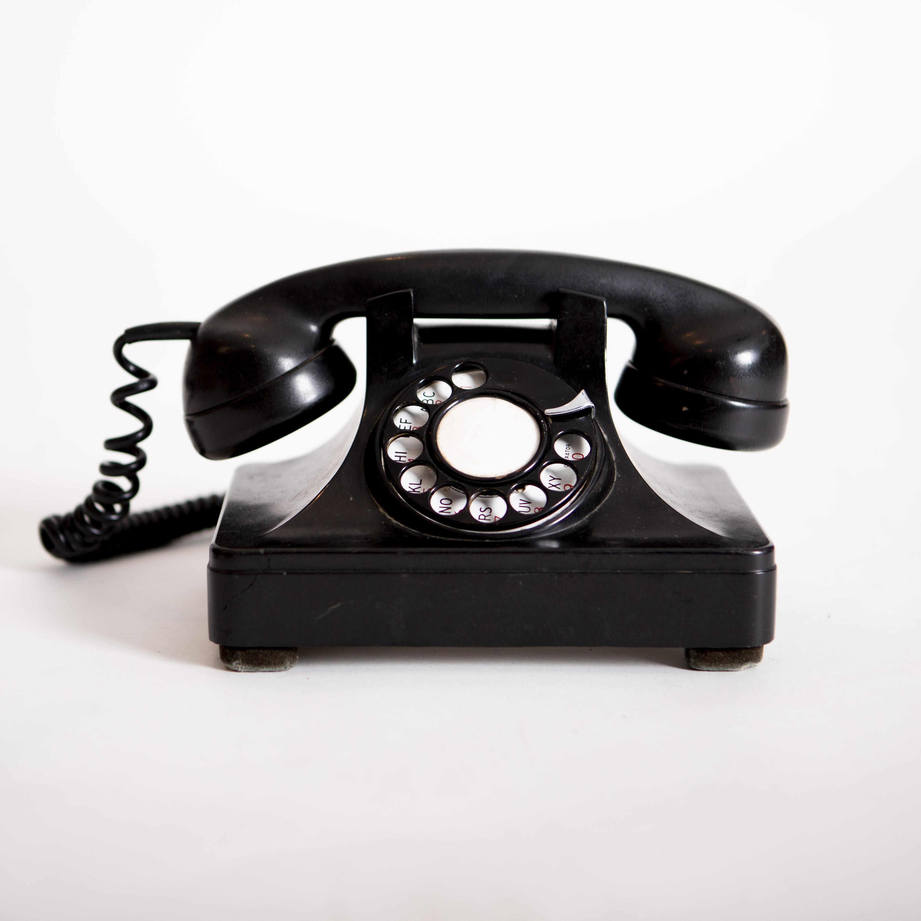 Black Vintage Rotary Phone Prop