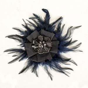 Vintage blue feather pin