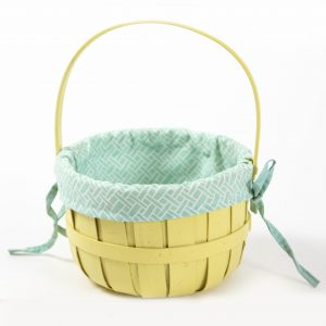 yellow basket with fabric insert prop rental