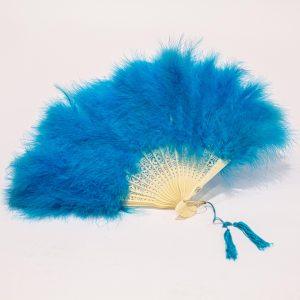 blue feather folding fan