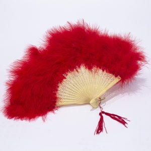 red feather folding fan