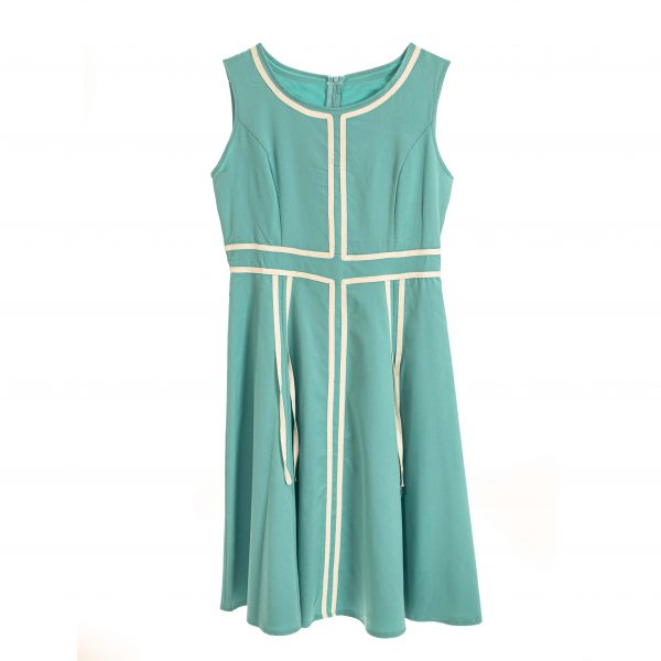 60's aqua flare dress rental
