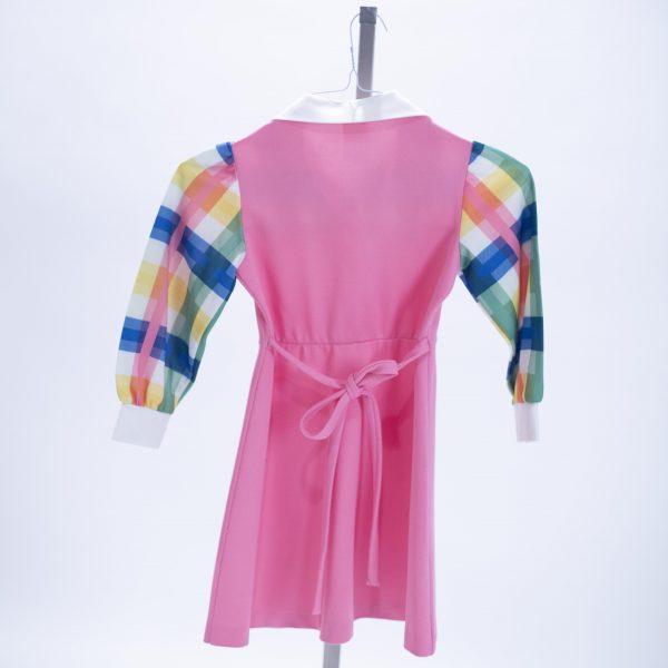 pink polester and plaid child dress rental