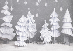 white tree backdrop rental