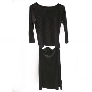 black sequin shirt and skirt rental